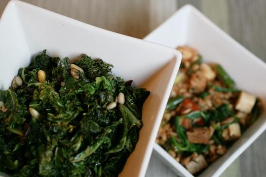 Smoked Tofu Farro With Italian Kale Salad
