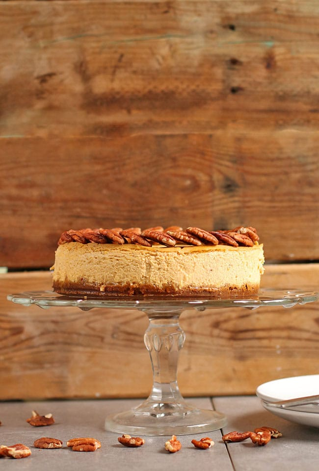 Vegan Pumpkin Cheesecake Recipe from My Darling Vegan - Vegan Thanksgiving Guide - Your Daily Vegan