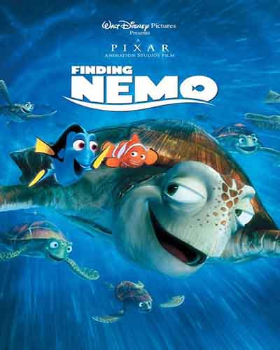 Cover for the film, Finding Nemo. Features several cartoon fish.