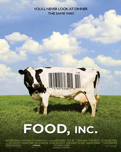 Cover for the film, Food Inc. Features a cow with a barcode on its side standing in a green field with a red barn in the distance.
