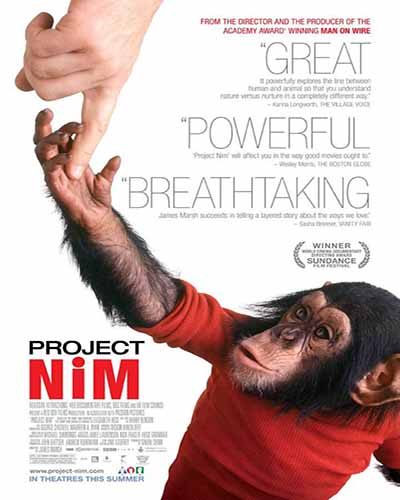 Cover for the film, Project Nim. Features a chimpanzee wearing a red shirt on a white background.