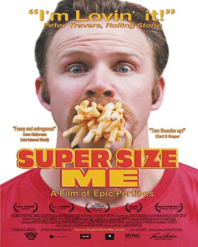 Cover for the film, Supersize Me. Features a picture of a man with a handful of french fries coming out of his mouth.