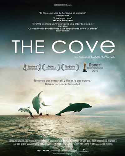 Cover for the film, The Cove, featuring a dolphins jumping out of the water.