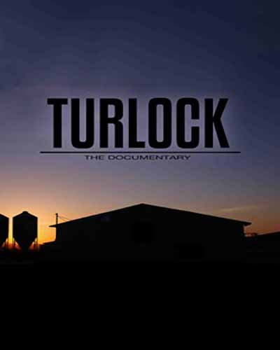 Cover for the film, Turlock the Documentary, featuring a silhouette of a farm on a dusky night sky.