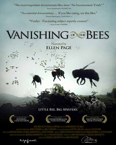 Cover for the film, Vanishing of the Bees. Features a close up of bees against a skyline.