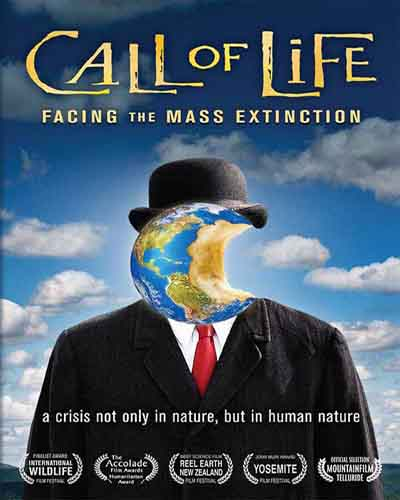 Cover for the film, Call of Life. Features a man in a black suit and red tie but instead of a head it's a planet.