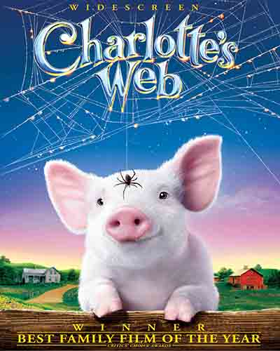 Cover for the film, Charlotte's Web. Features an illustrated pig with a spider and spider web.