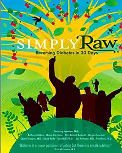 Cover for the film, Simply Raw. Features several silhouette people on a yellow, green, and blue background.