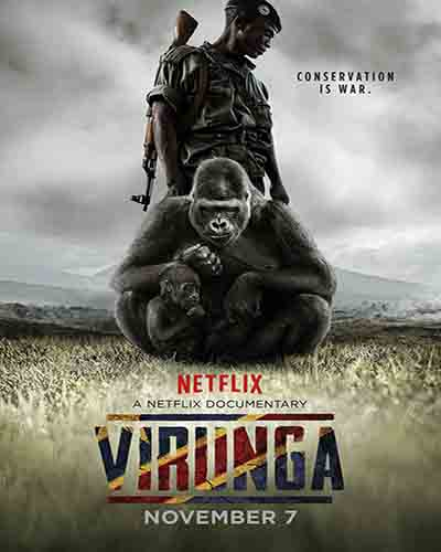 Cover for the film, Virunga. Features a two armed people in a rainforest setting.
