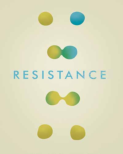Cover for the film, Resistance, featuring blue and green spheres on a light yellow background.