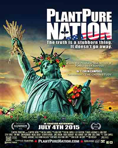 Cover for the film, Plant Pure Nation. Features the Statue of Liberty holding vegetables.