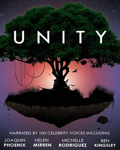 Cover for the film, Unity, featuring a large tree on an island of land with a purple and red sky in the background