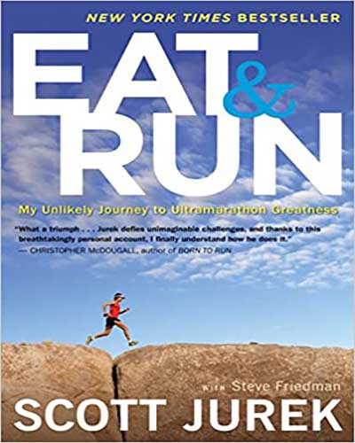 The cover for the book Eat & Run. Features a picture of a man running over rock underneath a blue sky.