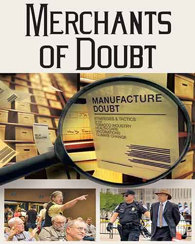 Cover for the film, Merchants of Doubt. Features a magnifying glass over a collage of pictures.