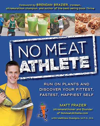 The cover for the book No Meat Athlete. Features a blue background with a picture of the author, a man, in the corner of the book with a pair of sneakers tied together and thrown over his neck.