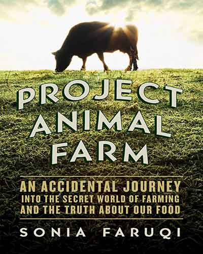 The cover of the book Project Animal Farm. Features a sheep grazing in a field.