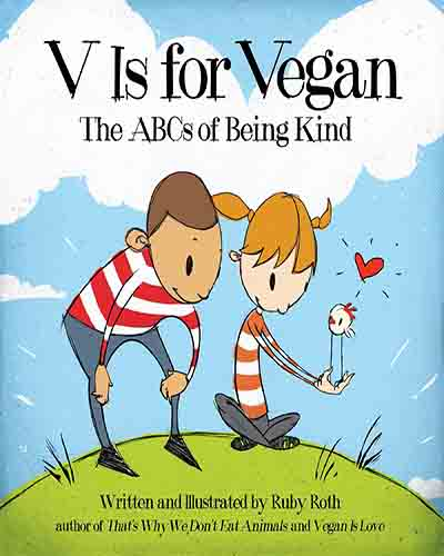 A cover for the book V is for Vegan. Features an illustration depicting two children on a green grassy hill with a blue sky.