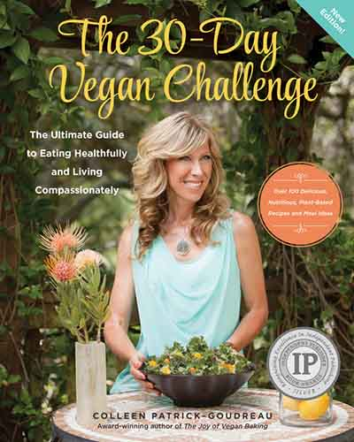 Cover for the book The 30-Day Vegan Challenge. Features a smiling woman sitting at a table with a large salad in front of her. The background is lush plants and greenery.