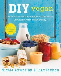 A cover for the book DIY Vegan. Features a selection of food items like cereal, milk, and granola bars sitting on a white surface with a blue background.