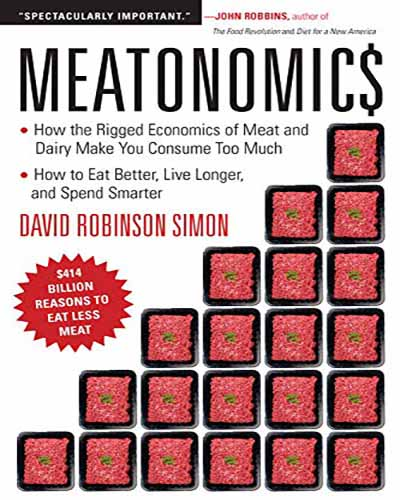The cover of the book Meatonomics. Features a white background with red squares stacked in a grid pattern.