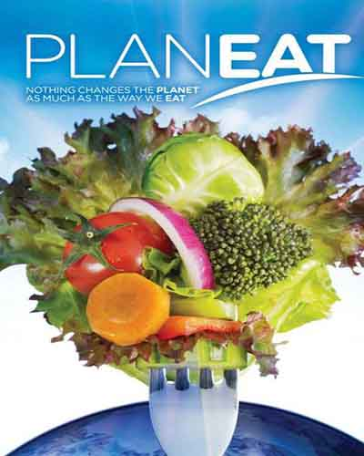 Cover for the documentary Planeat. Features a bouquet of vegetables over the earth.