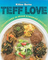 Cover for the book Teff Love. Features a plate of vegan food on a blue and green background.
