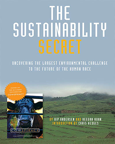 Cover for the book The Sustainability Secret. Cover features a picture of corn fields with a mountain in the background.