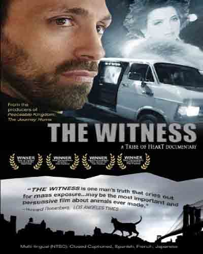 Cover for the documentary The Witness. Features a closeup of a man's face, a truck, and an animal.
