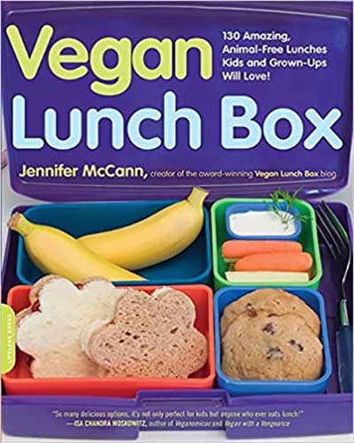 Cover for the book Vegan Lunch Box. Features a purple background showing a cute packed lunch in a bento box.