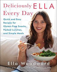 Cover for the book, Deliciously Ella Every Day. Features Ella eating a bowl of green food while sitting on a couch.