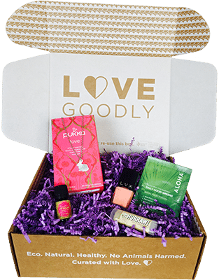 An overhead picture of a Love Goodly box with a variety of products in it.