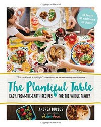 White cover with colorful photos of various meals with The Plantiful Table written in teal over top.