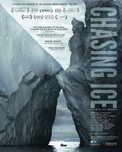 Cover for the film, Chasing Ice. Features a picture of two large icebergs.