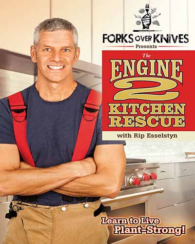 Cover for the film, Engine 2 Kitchen Rescue. Features A picture of a man in red suspenders in a kitchen.