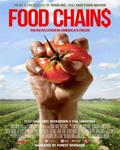 Cover for the film, Food Chains. Features a closeup of a hand squeezing a tomato.