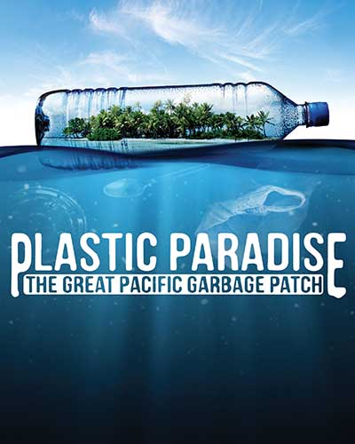 Cover for the film, Plastic Paradise. Features an island inside a plastic bottle.