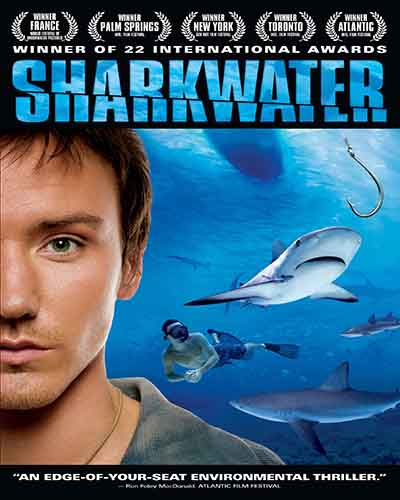 Cover for the film, Sharkwater. Features a closeup of a man, in the background are sharks under water.