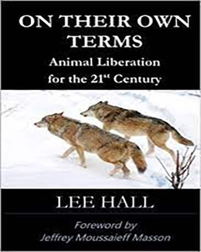 Cover for the book, On Their Own Terms. Features a pair of grey wolves running through snow.