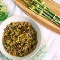 Lemon-Dill Garlic Scape Quinoa