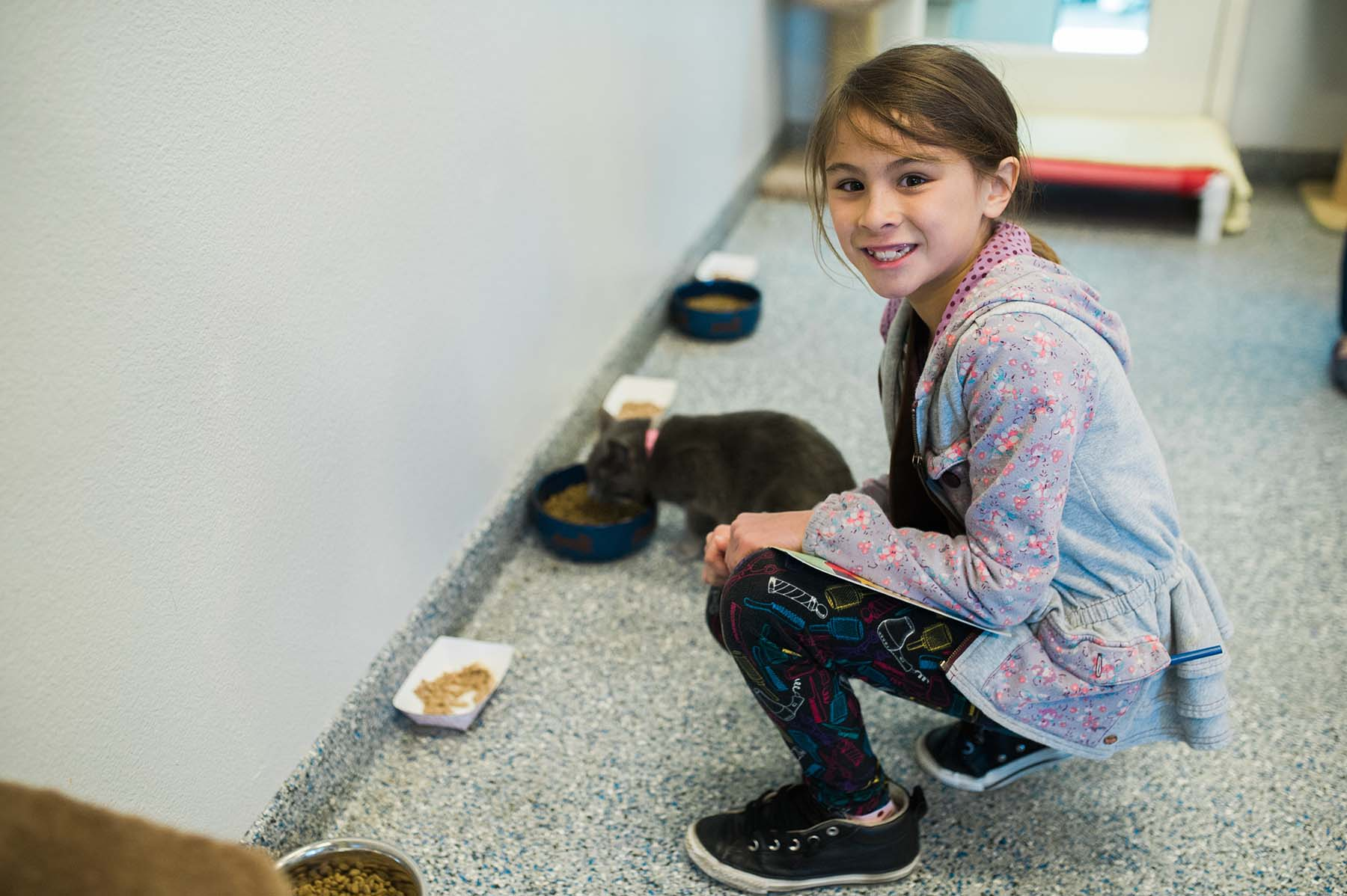 Girl volunteering at animal shelter.