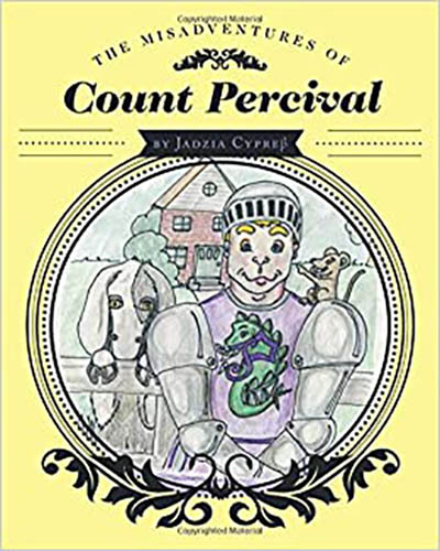 Cover for the book, The Misadventures of Count Percival. Features a cartoon drawing of animals on yellow background.