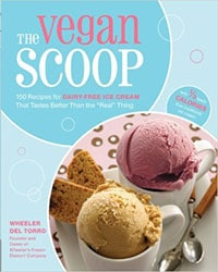 Cover for the book, The Vegan Scoop. Features a mostly light blue background with a small insert picture of ice cream in white cups.