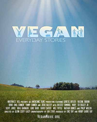 Cover for the film, Vegan: Everyday Stories. Features a green field and a blue sky.