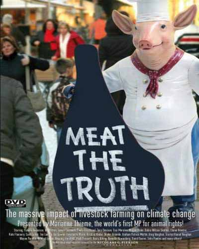 Cover for the book, Meat the Truth. Features a person dressed as a pig chef's outfit.