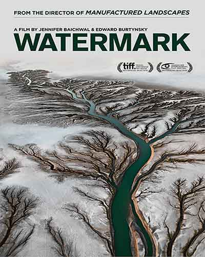 Cover for the film, Watermark. Features an overhead image of a river going dry.