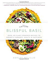 Cover for the book, Blissful Basil. Features a circle of colorful vegetables sitting on top of orange-colored hummus.