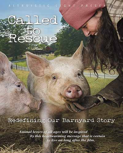 Cover for the film, Called to Rescue. Features a woman petting tow pigs in a green field with a blue sky.