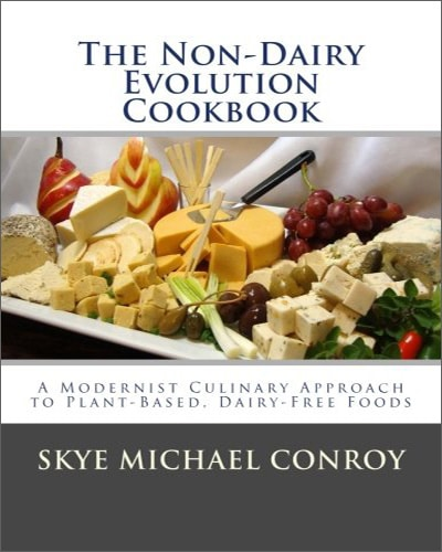 Cover for the book, The Non-Dairy Evolution Cookbook. Features a plate of cheese blocks.