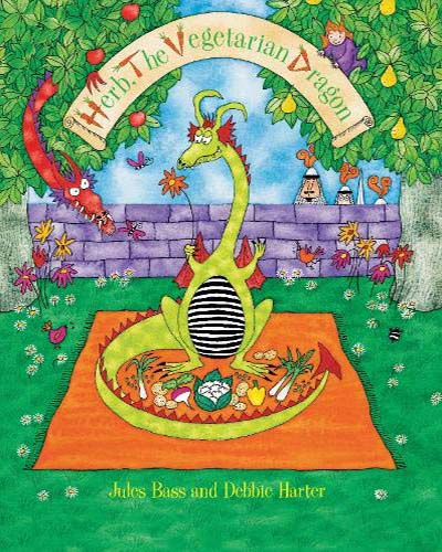 Cover for the book, Herb the Vegetarian Dragon. Features a brightly colored illustrated scene of a dragon having a picnic.