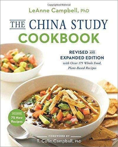 Cover for the book, The China Study Cookbook. Features two bowls of food.